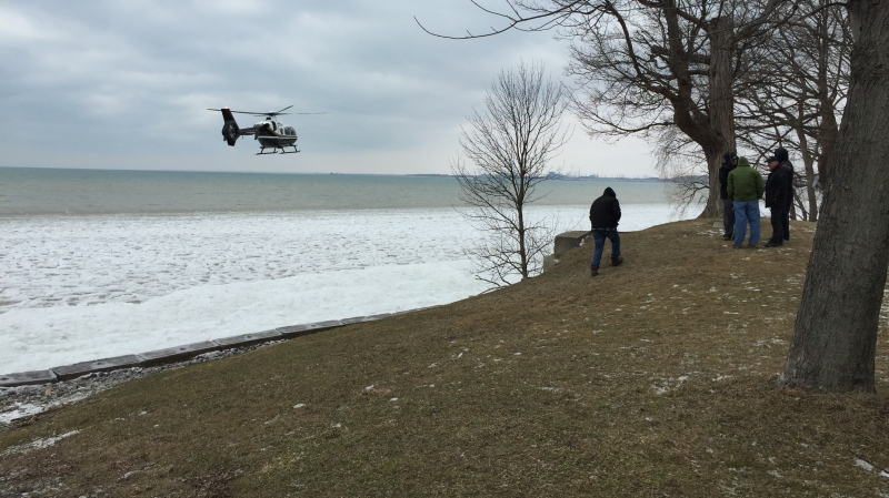 Recovery efforts resumed on Sunday for a nine-year-old boy presumed to have drowned after falling through the ice on Lake Erie. (Zayn Jinah/CTV Kitchener) (Feb. 16, 2019)