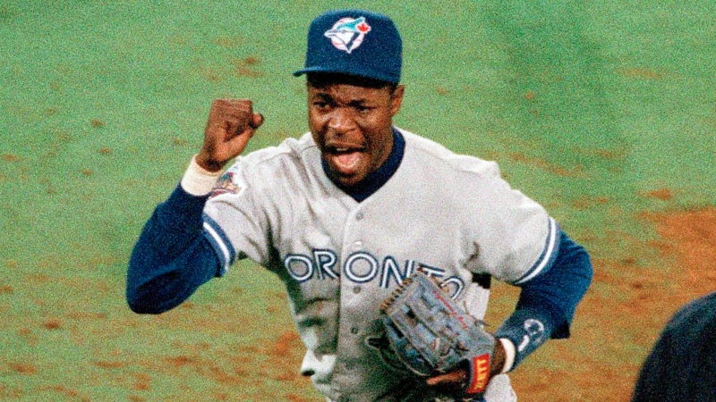 Toronto Blue Jays' Tony Fernandez reacts after a double play to get Philadelphia a Phillies' John Kruk and Dave Hollins during the seventh inning of Game 3 of the World Series on, Oct. 19, 1993 in Philadelphia. (AP / Doug Mills)