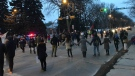 A round dance was held on Albert St. to show support for the Wet'suwet'en Hereditary Chiefs. (Stefanie Davis/CTV News)