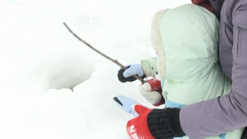 Lake Laurentian family ice fishing day