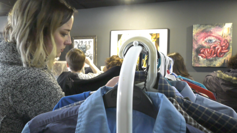 Shoppers at a clothing swap hosted by Swap Studios and The Grizzlar Coffee & Records on Feb. 16, 2020, say they appreciate a way to shop sustainably and support local business.