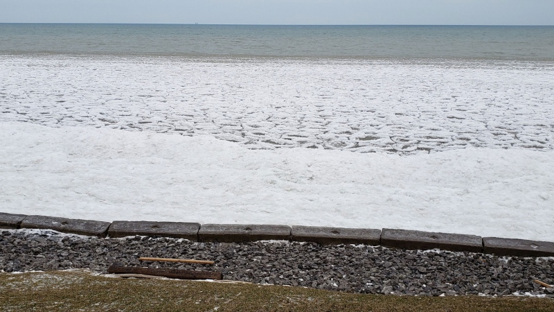 Ice builds up on the shore of Lake Erie where a young boy was swept into the cold waters. (Provided by OPP)