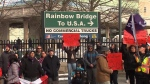 Rainbow bridge protest