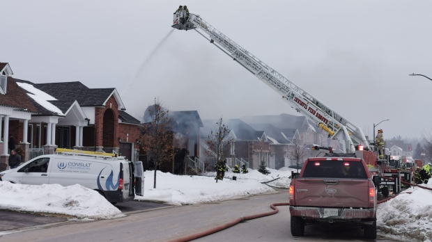 Roof collapses after fire tears through Innisfil home