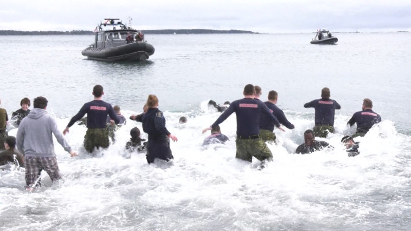 Officers take the plunge