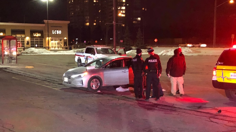 York Regional Police are looking for a suspect after two people were shot outside the Promenade Mall on Sunday, Feb. 16, 2020