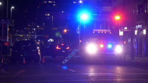 A man was transported to hospital in life-threatening condition after falling from a limousine in Calgary's Beltline on Feb. 16, 2020.