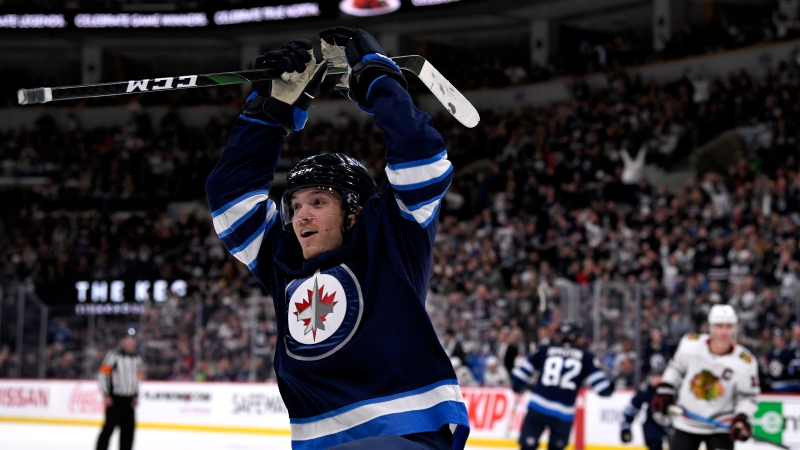 Winnipeg Jets' Jack Roslovic (28) celebrates his goal against the Chicago Blackhawks, during second period NHL action in Winnipeg on Sunday, Feb. 16, 2020. (THE CANADIAN PRESS/Fred Greenslade)