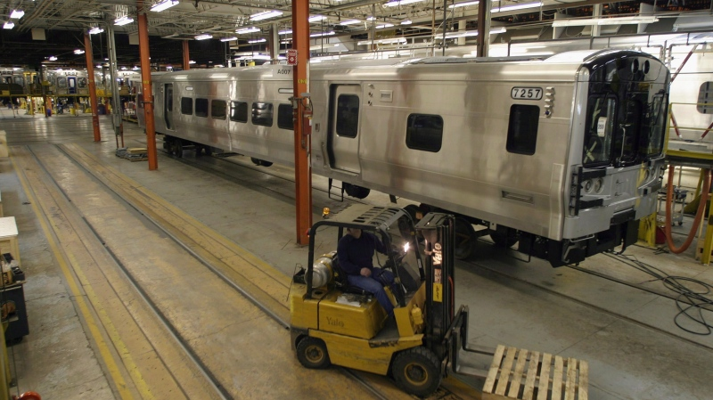A commuter rail car is shown under construction at the Bombardier Transport plant in La Pocatière Que. (Jacques Boissinot / THE CANADIAN PRESS)