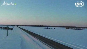 Highway 88, 20 km north of Fort Vermilion on Feb. 17, 2020. (Source: 511 Alberta)