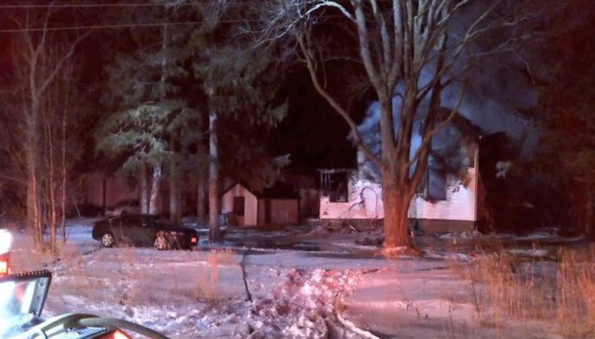 A fire destroyed a home near Rostock