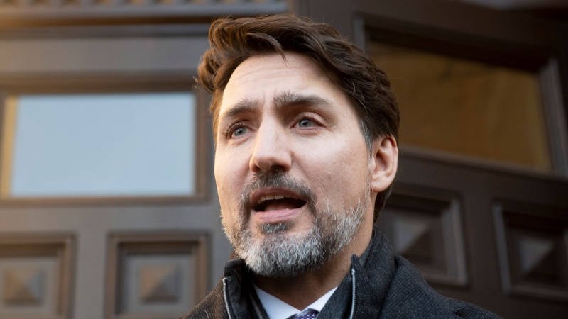 Prime Minister Justin Trudeau speaks with media as he leaves his office following a meeting of the Incident Response Group in Ottawa, Monday February 17, 2020. THE CANADIAN PRESS/Adrian Wyld