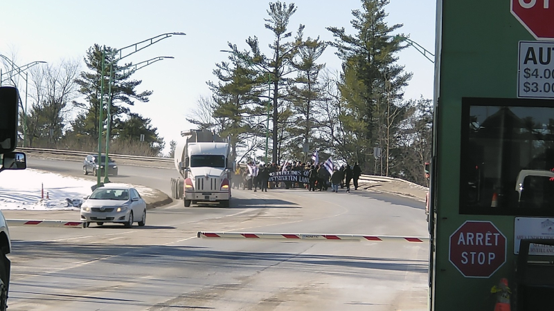 Protesters block access road to Thousand Islands Bridge as seen in this photo posted to Twitter on Monday, Feb. 17, 2020. (@tegan4618/Twitter)