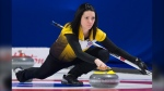 Team Manitoba skip, Kerri Einarson makes a shot during draw 6 against team Northern Ontario at the Scotties Tournament of Hearts in Moose Jaw, Sask., Monday, February 17, 2020. THE CANADIAN PRESS/Jonathan Hayward