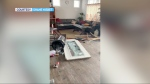 RCMP say thieves likely used a Ford truck to smash through the front of a store in Lyalta, east of Calgary, overnight Sunday. (Courtesy Shane Nisbet)