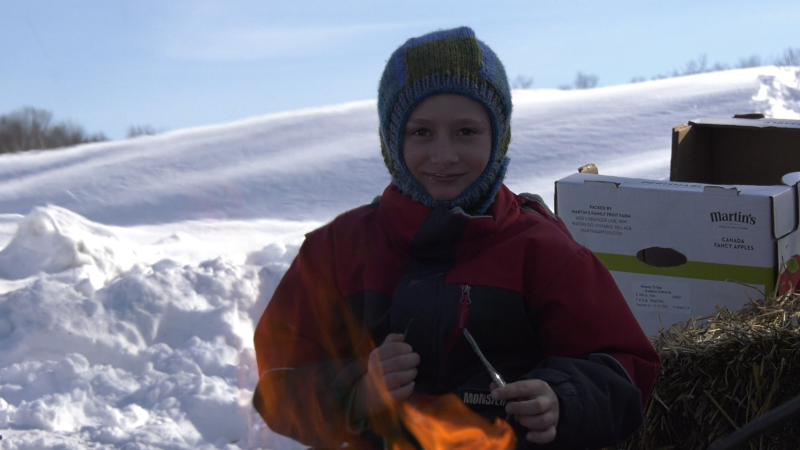 Festivities at Centennial Arena included a magician, skiing, skating and roasting marshmallows.
