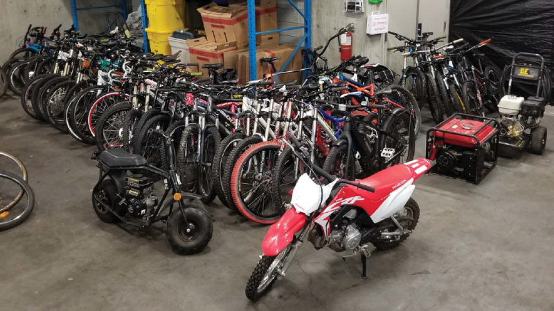 Mounties in Surrey say they've recovered over $80,000 worth of stolen goods including 40 high-end bikes. (RCMP handout)