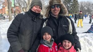 The Swicheniuk family goes for a skate on Family Day. (Chad Leroux/CTV Saskatoon)