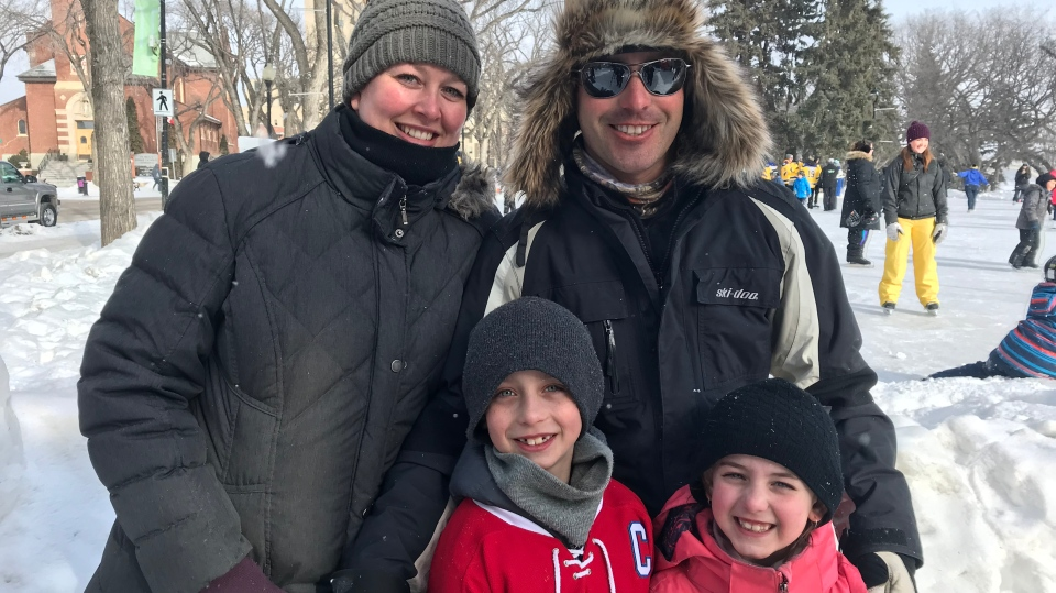 The Swicheniuk family goes for a skate on Family Day. (Chad Leroux/CTV Saskatoon)