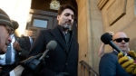 Prime Minister Justin Trudeau leaves the Office of the Prime Minister and Privy Council building following a meeting of the Federal governments Incident Response Group in Ottawa, Monday February 17, 2020. THE CANADIAN PRESS/Adrian Wyld