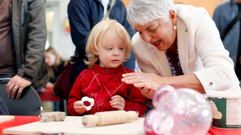 Minister of Finance Carole James takes part in activities with Arlo Pullman, 3, during the Family Arts Festival at the Cedar Hill Recreation Centre on Family Day in Victoria on Monday, Feb. 17, 2020. (Chad Hipolito / THE CANADIAN PRESS)