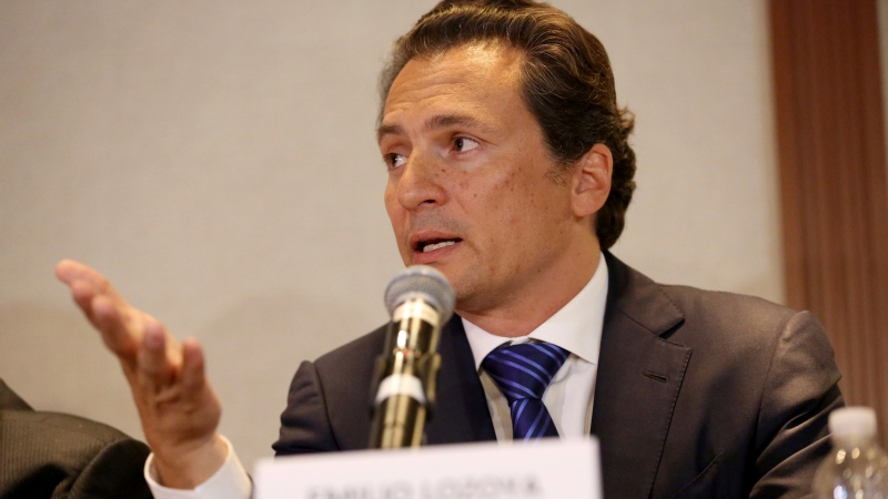 In this Aug. 17, 2017 file photo, Emilio Lozoya, former head of Mexico's state-owned oil company Pemex, gives a press conference in Mexico City. On Feb 2020, Spanish police arrested Lozoya in southern Spain. Mexico had been pursuing Lozoya through Europe for months over allegations of an illegal contract while he was at Pemex. (AP Photo/Gustavo Martinez Contreras, File)