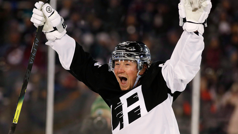 Los Angeles Kings right wing Tyler Toffoli celebrates after scoring the go-ahead goal against the Colorado Avalanche during the third period of an NHL hockey game Saturday, Feb. 15, 2020, at Air Force Academy, Colo. (AP / David Zalubowski)