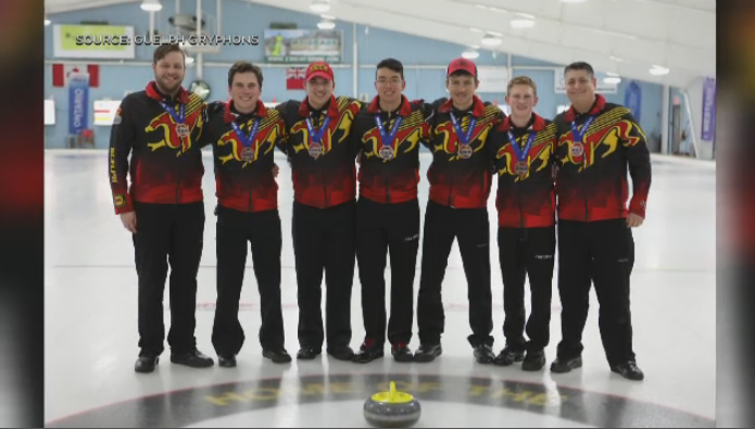 University of Guelph Gryphons men's curling team wins bronze at the 2020 OUA Curling Championships in Guelph.