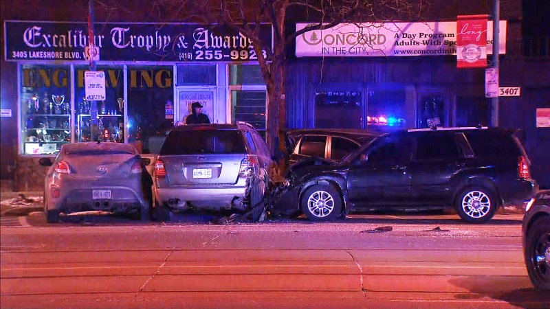 Police investigate a crash in Etobicoke's Long Branch area on Feb. 17. (CTV News Toronto)