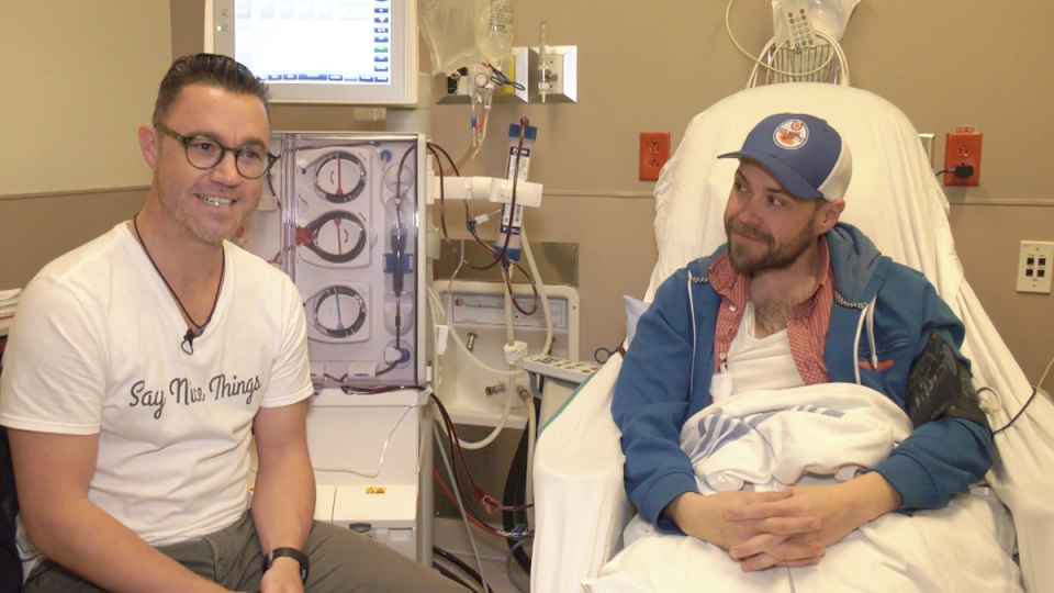 Michael Teigen, left, and Stephen Gillis speak to CTV News Vancouver from a hospital room on Monday, Feb. 17, 2020.