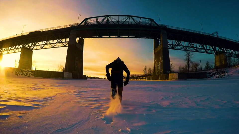 Joan Roch has run across a frozen stretch of the St. Lawrence River on his daily commute for the last five winters.