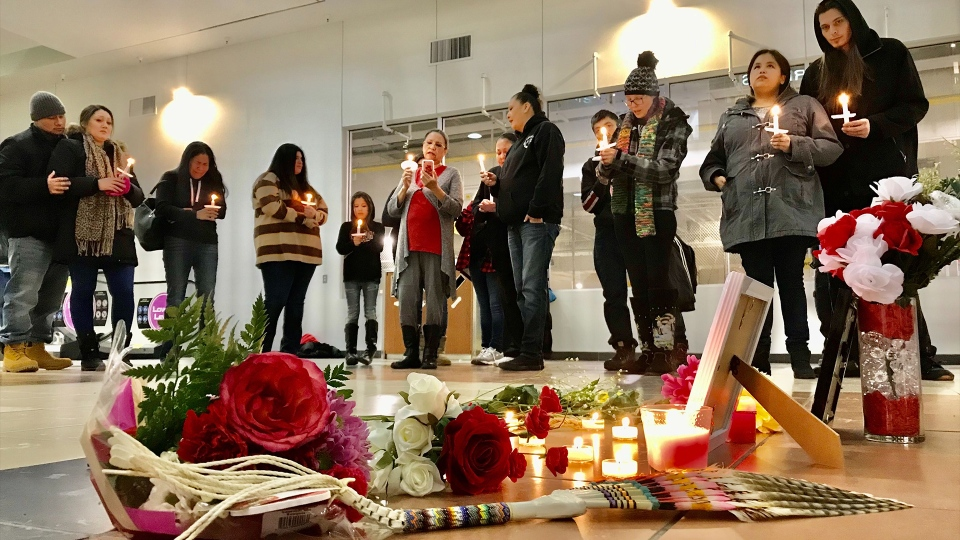 A vigil for Sheri Lynn Gauthier on Feb. 17, 2020. (Sean Amato/CTV News Edmonton)