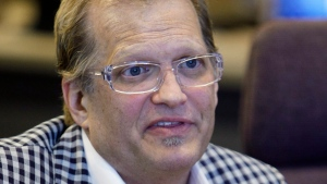 Comedian Drew Carey addresses Cleveland City council members Thursday, May 27, 2010, in Cleveland. Carey talked to City Council members on how they should revitalize the ailing city. (AP Photo/Tony Dejak)