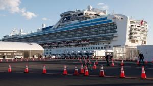 The quarantined cruise ship Diamond Princess is anchored at the Yokohama Port in Yokohama, near Tokyo, Tuesday, Feb. 18, 2020. (AP Photo/Koji Sasahara)