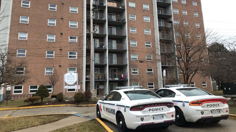 Windsor police and fire crews were called to the Rivershore Tower apartment building in Windsor on Tuesday, Feb. 18, 2020. (John Lewis / CTV Windsor)