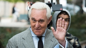 In this Nov. 7, 2019 file photo, Roger Stone arrives at Federal Court for his federal trial in Washington. (AP Photo/Cliff Owen)