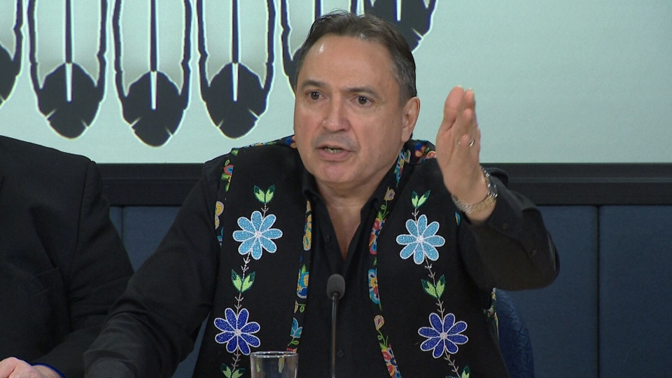 National Chief Perry Bellegarde joined chiefs from the Assembly of First Nations Special Chiefs Assembly to address the issue of the rail blockades, February 18, 2020.