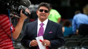 In this Aug. 8, 2015, file photo former owner of the San Francisco 49ers Edward DeBartolo, Jr., is interviewed before the Pro Football Hall of Fame ceremony at Tom Benson Hall of Fame Stadium in Canton, Ohio. (AP Photo/Gene J. Puskar, File)