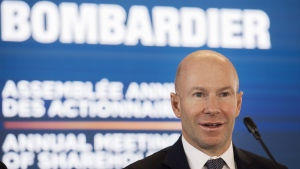 Bombardier President and CEO Alain Bellemare attends the company's annual general meeting in Montreal on May 2, 2019. THE CANADIAN PRESS/Graham Hughes