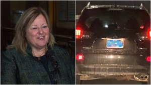 Minister of Government and Consumer Services Lisa Thompson speaks to reporters Tuesday about the apparent design flaw of the new Ontario licence plates. (CTV News Toronto/@ACollinsPhoto)