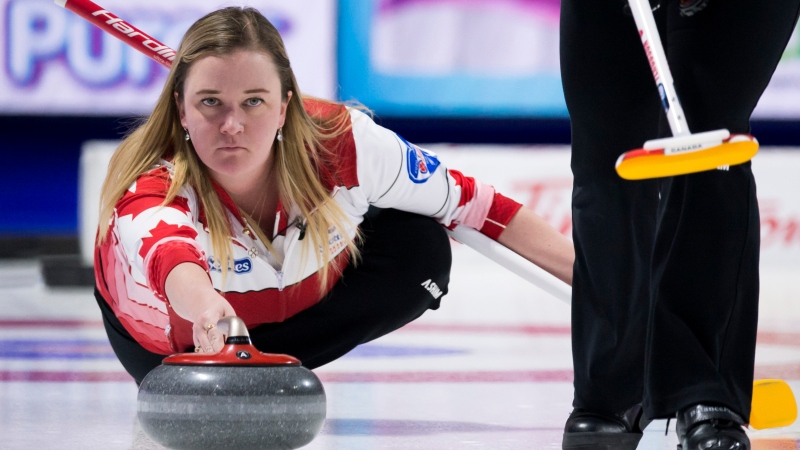 Team Canada skip, Chelsea Carey makes a shot during draw 9 against team Alberta at the Scotties Tournament of Hearts in Moose Jaw, Sask., Tuesday, February 18, 2020. THE CANADIAN PRESS/Jonathan Hayward