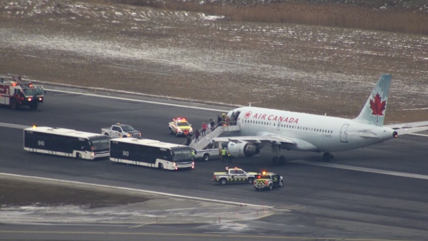 An Air Canada Airbus A319 is seen on the runway at Toronto Pearson after declaring an emergency on Tuesday afternoon. (CTV News Toronto)