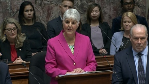 Finance Minister Carole James delivers the B.C.'s 2020 budget in the provincial legislature on Tuesday, Feb. 18, 2020.
