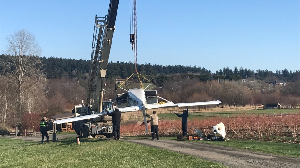 Crews remove the plane wreckage from a farmer's field Tuesday, Feb. 18, 2020. (CTV News)
