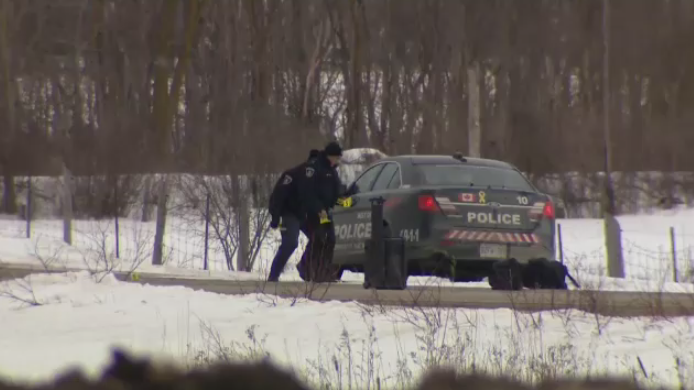 Police say the death of an officer is connected to an incident that closed a road north of Mount Forest. (Feb. 18, 2020)