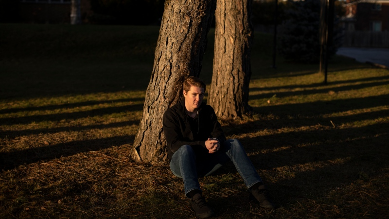 Sean McCann is photographed near his Toronto home on Thursday, November 28, 2019. The 19-year-old student was shot after going to a mansion party at an Airbnb in Etobicoke in April of this year, and has launched a lawsuit against the company, the owner of the house, the party organizer and the shooter. (THE CANADIAN PRESS/Chris Young)