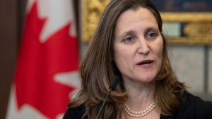 Deputy Prime Minister and Minister of Intergovernmental Affairs Chrystia Freeland speaks with the media before Question Period on Parliament Hill in Ottawa, Tuesday February 18, 2020. THE CANADIAN PRESS/Adrian Wyld