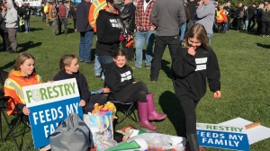 Organizers say the rally is a reminder of what the forestry industry has provided for B.C. residents, especially in rural communities. (CTV News)