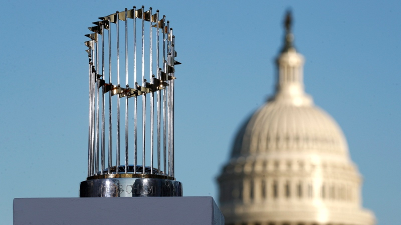 The World Series trophy stands on a stage in front of the U.S. Capitol dome, Saturday, Nov. 2, 2019, in Washington. (AP Photo/Patrick Semansky)