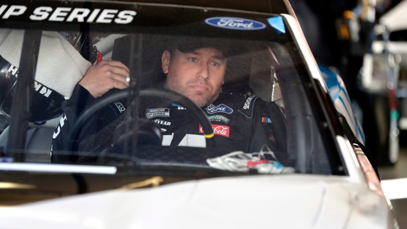 Ryan Newman makes adjustments in his car during a NASCAR auto race practice at Daytona International Speedway, Saturday, Feb. 8, 2020, in Daytona Beach, Fla. (AP Photo/John Raoux)